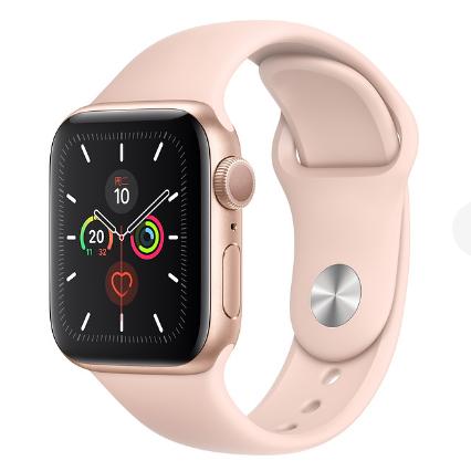 Apple Watch Series 5金色铝金属表壳;运动型表带  40 毫米(表带可选颜色:淡柠黄色、柑橘色、松针绿色、冰洋蓝色、岩石色、粉砂色、白色、黑色、红色)