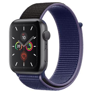 Apple Watch Series 5深空灰色铝金属表壳;回环式运动表带 40 毫米(表带可选颜色:冰洋蓝色、铁锚灰、石榴色、卡其色、驼色、午夜蓝、彩虹色)