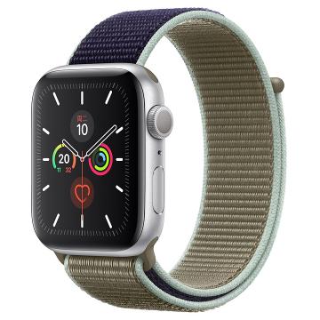 Apple Watch Series 5银色铝金属表壳;回环式运动表带 44 毫米(表带可选颜色:冰洋蓝色、铁锚灰、石榴色、卡其色、驼色、午夜蓝、彩虹色)