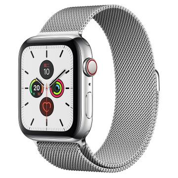 Apple Watch Series 5不锈钢表壳;米兰尼斯表带 44 毫米(表带可选颜色:金色、银色、深空黑色)