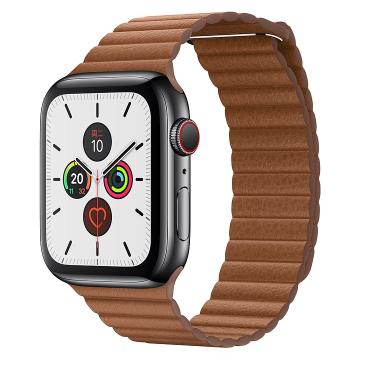 Apple Watch Series 5深空黑色不锈钢表壳;皮制回环形表带 (表带中号、大号可选,表带可选颜色:橙柠黄色、鞍褐色、黑色)