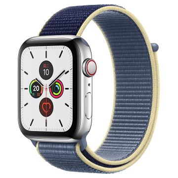 Apple Watch Series 5不锈钢表壳;回环式运动表带 44 毫米(表带可选颜色:冰洋蓝色、铁锚灰、石榴色、卡其色、驼色、午夜蓝、彩虹色)