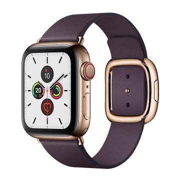 Apple Watch Series 5金色不锈钢表壳;现代风扣式表带 (表带小、中、大号可选;颜色:茄紫色、鞍褐色、黑色可选)
