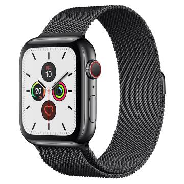 Apple Watch Series 5深空黑色不锈钢表壳;米兰尼斯表带 40 毫米(表带可选颜色:冰洋蓝色、铁锚灰、石榴色、卡其色、驼色、午夜蓝、彩虹色)