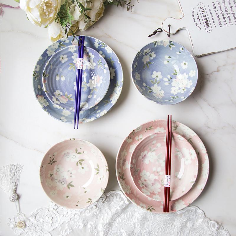 日本 AITO宇野千代樱吹雪美浓烧陶瓷餐碗碟八件套套 B0042749700