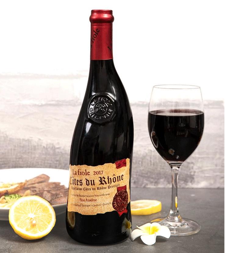 芙华(LA FIOLE)安赛伦干红葡萄酒 750ml单支礼盒装 法国进口红酒 歪脖子 隆河丘产区AOC级别