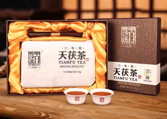 【湖南特产】白沙溪安化黑茶 天茯茶三年陈金花茯砖茶礼盒装 1KG